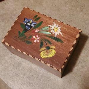 🦕3/$10 Vtg Hand Painted Wood Music Box Germany